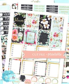 PRINTABLE PLANNER STICKERS, July Planner Sticker, Summer Floral, Flower Planner, weekly planner stickers, printable weekly set, flower kit