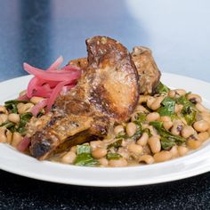 Braised Ribs with Black-Eyed Peas and Collard Greens