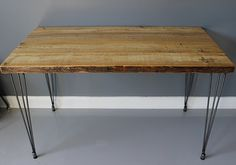 Reclaimed Urban Wood Table / Desk Hairpin Legs. Built by DendroCo, $260.00