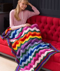 Stunning Rippling Throw Free Crochet Pattern in Red Heart Yarns (UK terms)