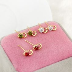 8.5mm 18K Gold Plated Fashion Small Lock Inlaid Zircon Women Ladies Copper Earrings