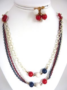 Red White Blue Necklace Earrings Set