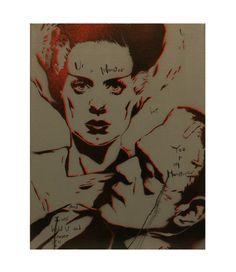 MONSTER LOVE 11 x 20 Frankenstein Portrait with the Bride of Frankenstein Original Painting Inspired by Pop Art Vintage Horror Graffiti Obey