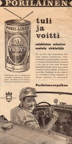 SPECIAL YHDYS OLUT I Vintage Advertisements, Vintage Ads, Map Pictures, Old Commercials, Old Ads, Nostalgia, Finland, Funny, Movie Posters