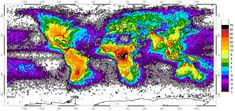 This map shows the frequency of lightning strikes throughout the world.