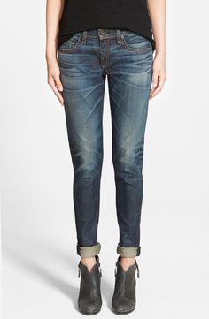 Dramatic whiskering and hand-sanded fading enrich the dark indigo wash of these stylish Rag & Bone slim boyfriend-style jeans.