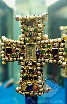 Byzantine cross preserved in the treasure museum of Notre Dame cathedral. Tournai. Hainaut, Belgium.