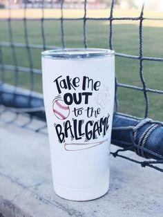 Take me out to the ballgame cup / Softball/Baseball cup / Baseball mom life tumbler Baseball Cup, Baseball Crafts, Baseball Jerseys, Baseball Players, Baseball Jersey Outfit, Baseball Field, Baseball Birthday, Baseball Stuff, Baseball Decorations