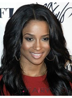 Glamorous Medium Wavy Black African American Lace Wigs for Women