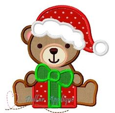 Christmas Teddy Bear Applique - 3 Sizes! | What's New | Machine Embroidery Designs | SWAKembroidery.com Dollar Applique