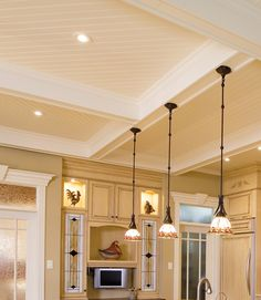 kitchen ceilings - i like the diagonal in-laid wood in the coffers