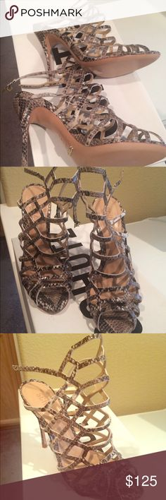 """Schutz Juliana Dress Sandal in Pearl Snake Brand New Leather upper and sole Caged cut-out detail Buckle closure Adjustable ankle straps Heel measures approx 5"""" H SCHUTZ Shoes Heels"""