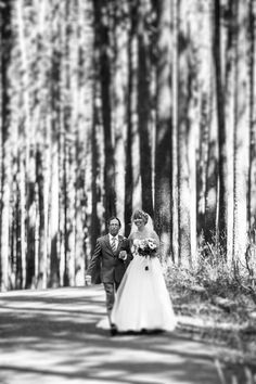 Even in black and white the forest setting of this green inspired wedding looks amazing! #CypressHills #Weddings #Saskatchewan