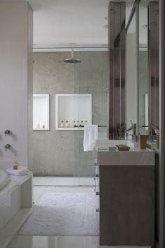 Bathroom Design Idea - Create a Spa-Like Bathroom At Home // Install a rainfall shower head.