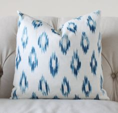 This is a Beautiful Silky Linen Pillow cover that will brighten any room with a beautiful diamond pattern featuring several shades of Indigo!