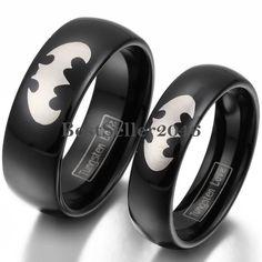 Damen Herren Batman Fledermaus Laser Gravur Ring Schwarz Wolframcarbid Schmuck