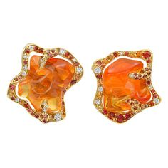 Dorota Fire Opal Sapphire Gold Flame Earrings For Sale at Platinum Earrings, 18k Gold Earrings, 18k Gold Jewelry, Sapphire Earrings, Opal Earrings, Pearl Drop Earrings, Pendant Earrings, Gold Pendant, Fine Jewelry