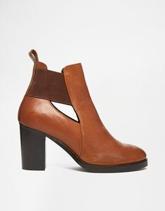 Enlarge ASOS EXCEPTIONAL Cut Out Elastic Leather Ankle Boots