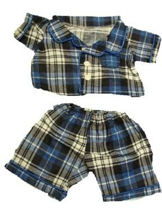 """Flannel Pj's Clothes Outfit Fit 14"""" - 18"""" Build-A-Bear, Vermont Teddy Bears, And Make Your Own Stuffed Animals, 2015 Amazon Top Rated Stuffed Animal Clothing & Accessories #Toy"""