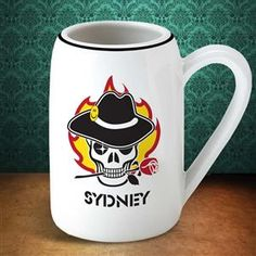 22 Ounce Beer Stein with a Creepy Skull with a Hat and Rose in its Teeth