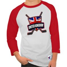 Great British Ice Hockey Shield Champion Raglan T-Shirt. To see this design on a range of other products, please visit my store: www.zazzle.com/gamefacegear*/  #icehockey #britishflag #zazzle