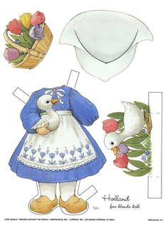 """friends around the world"" paper doll outfit for blonde doll ~ by ruth moorehead"