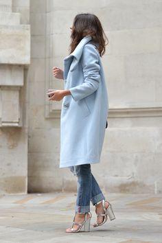 oversized pastel blue coat | It List fall fashion trends