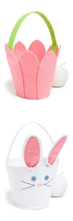Love the pastel pink tulip and bunny felt baskets for Easter.