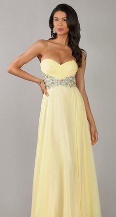 Elegant Sweetheart A-Line Chiffon Yellow Long Prom Dress In Stock kaladress13836