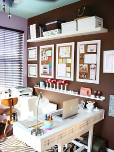 Home Office organization Framed Cork (Bulletin) Board Design, Pictures, Remodel, Decor & Ideas, clean orderly look, white on brown