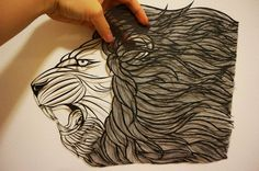 Original Handmade Papercut  Lionframed in shadow от SinyeeCraft
