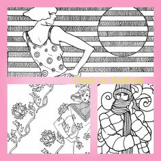 A collage from my adult coloring book, Color In Fashion: A Stylish Adult Coloring Book. Visit my web site: aleciablakestudios.com.