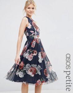Image 1 ofASOS PETITE Floral Printed Mesh Skirt Midi Dress