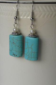 Turquoise Handmade Beaded Earrings by bdzzledbeadedjewelry on Etsy, $12.00