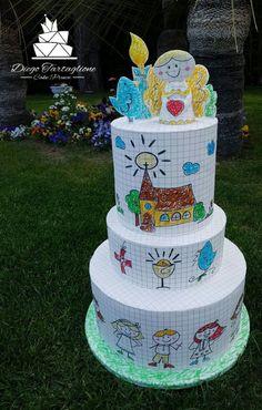 "School cake could be fountain pen cake ""paper"" idea too Fondant Cakes, Cupcake Cakes, Thank You Cake, Doodle Cake, Super Torte, Foto Pastel, Teacher Cakes, Religious Cakes, School Cake"