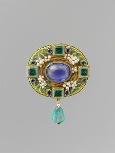 (Arts& Crafts) Florence Koehler brooch, circa 1905, Chicago. Sapphire, pearls, emeralds, enamel and gold.