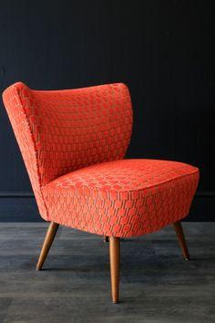 Upcycled Bartholomew Cocktail Chair - Citrus Orange Underground Velvet - View All - Furniture Basement Furniture, Home Furniture, Furniture Design, Chair Upholstery, Sofa Chair, Armchair, Vintage Decor, Vintage Furniture, 1950s Interior