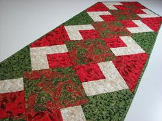 Quilted Table Runner  Christmas Table Runner  Red by VillageQuilts