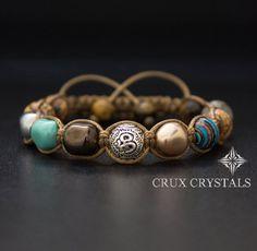LIMITED EDITION Om Beaded Bracelet Womens Gemstone Shamballa Bracelet, Swarovski Pearls, Wrap Bracelet, Namaste Yoga Bracelet, Fall Jewelry