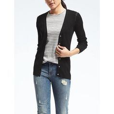 Banana Republic Womens Merino Boyfriend Cardigan (685 HKD) ❤ liked on Polyvore featuring tops, cardigans, black, fitted cardigan, button down top, lightweight cardigan, merino wool tops and merino wool boyfriend cardigan