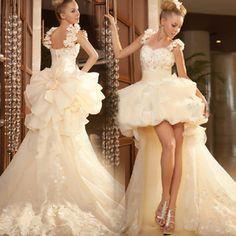 Before long after short wedding dress