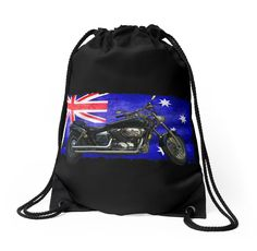 Australian Downunder Flag, Motorcycle Biker Design by NaturePrints