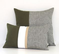 Yarn dyed chambray gives layers of texture to this chic olive green colorblock pillow cover. HOT color trend for fall! This color palette and design coordinates perfectly with our signature colorblock pillows. Makes the perfect accent on a chair, sofa, window seat or bed. They would also make a perfect hostess gift too! Original design by artist and interior designer, Jillian Carmine. ----------------------------------------------------------------------------------------------- For…