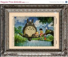 Holiday SALE Totoro and Friends Fishing on Vintage by EcoCycled, $8.00