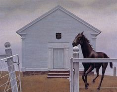 Church and Horse Author: Alex Colville (Canadian, 1920 – Acrylic on hardboardLocation: Montreal Museum of Fine A. Alex Colville, Canadian Painters, Canadian Artists, Art Inuit, Montreal Quebec, Order Of Canada, Magic Realism, Modern Artists, Surrealism