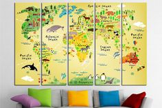 nursery world map nursery map map for kids by RainbowArtStore