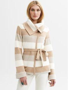 Belted stripe sweater | Banana Republic