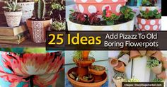 Whether you're looking for a new gardening project, or you're bored of your same old boring flower pots, check out one of these 25 flower pot do it yourself projects. With projects ranging from the tired planter, to the rock covered bucket, this post is a sure fire way to get you jump... #spr #sum