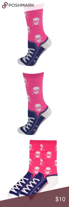 Sneaker Socks - Pink Blue Can't find the right shoe? No worries, our Women's Skull Sneaker socks have you covered! One Pair Per Package. Made in Korea  60% Cotton / 38% Polyester / 2% Spandex Accessories Hosiery & Socks