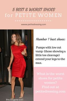 Find out what shoes make petite women look taller and what shoes make your legs look shorter. Visit Petite Dressing for the Petite Shop, petite celebrities fashion inspiration and petite blo… Petite Fashion Tips, Petite Outfits, Petite Dresses, Fashion Tips For Women, Ladies Fashion, Fashion Bloggers, Petite Clothing Stores, Celebrity Style Inspiration, Fashion Inspiration
